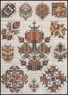 Ukrainian and Romanian embroidery of Bukovyna-Bucovina Folk Embroidery, Cross Stitch Embroidery, Embroidery Patterns, Cross Stitch Designs, Cross Stitch Patterns, Cross Stitch Charts, Motifs Blackwork, Palestinian Embroidery, Bargello