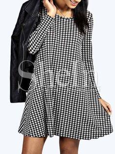 Vestido manga larga houndstooth -negro blanco 14.54