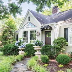 The Cottage Journal – Hoffman Media – front yard ideas with porch Colonial Cottage, Style Cottage, Old Cottage, Cottage Homes, White Cottage, Cute House, Tiny House, Hydrangea Season, Attic Master Suite