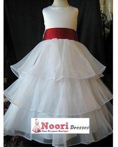 Flower Girl Dresses - Pageant, Formal and Birthday Dresses 3-tiered Organza Flower Girl Dress White - Flower Girl Dresses