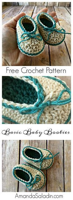 Crochet a pair of these basic baby booties in a snap with this free crochet pattern. Two sizes available for 0-6 months or 6-12 months.