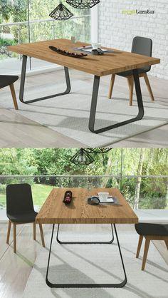 Egelasta · Mueble · Moderno · Madera · Mobiliario de hogar · Catálogo New Live · Día · Comedor · Mesa de comedor con patas en hierro industrial · Roble viejo