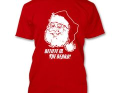 Available in over 10 colors Mens new cotton t shirt Santa clause ho ho ho Believe in the beard Funny Christmas gift white ink xmas St. Nick