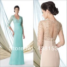 Cheap chiffon long sleeve top, Buy Quality lace chiffon dress directly from China chiffon pant Suppliers: Top Sale Newly Designed Sumptuous V-neck Half Sleeve Chiffon Lace with Beaded See Through Mother of the Bride Dresses 20