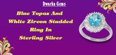 Blue Topaz & White Zircon Studded Ring In 925 Sterling Silver