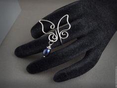 Купить Комплект Кафф и кольцо Бабочки черный жемчуг, лаконичные и романтичные - кафф с жемчугом