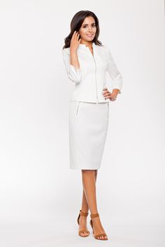 white jacket with white skirt, this is an excellent choice