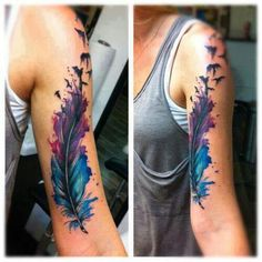 colorful feather tattoo...in love