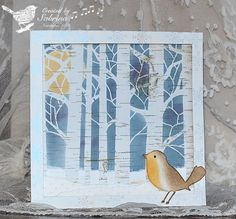 Winter Bird in the Woods, try with memory box tree die cut