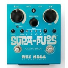 Way Huge Supa-Puss Analog Delay with Tap Tempo Crave some rich analog delay in your rig? The Way Huge Supa-Puss analog delay pedal won't disappoint, and it's Guitar Effects Pedals, Guitar Pedals, Bass Pedals, Bucket Brigade, Guitar Amp, Music Guitar, Sound Waves, Wet And Dry, Musical Instruments
