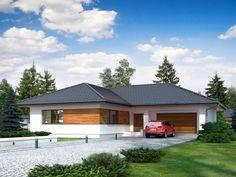 DOM.PL™ - Projekt domu TP Temida 2 CE - DOM TP1-26 - gotowy koszt budowy Exterior Colors, Exterior Design, Interior And Exterior, Bungalow House Plans, Bedroom House Plans, House Color Schemes, House Colors, Modern Family House, Wood Architecture