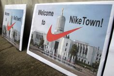 Nike said it was being courted by other states but would expand in Oregon if officials promised to keep in place the substantial tax benefits for companies that employ many people in Oregon but sell most of their goods elsewhere.  The Oregon legislature said OK.