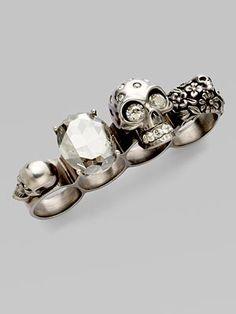 Alexander McQueen Crystal Skull Four-Finger Ring