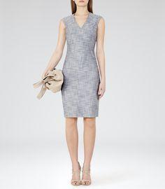 Womens Grey Blue Tailored Dress - Reiss Remi Dress