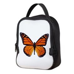 Orange Butterfly Neoprene Lunch Bag > Lunch Bags > Atteestude T-Shirts And Gifts  #school supplies