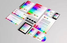 White corporate identity template with color stripes free