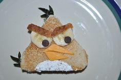 Angry Birds Sandwich - I'd do PB, sliced bananaas (eyes  chest), raisins (eyes  hair), and probably cheese