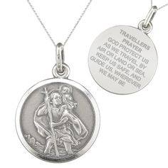 St Christopher Travellers Prayer Sterling Silver Antique Finish Necklace..... Sherry and Terry have these. Got them for Baptising gifts.   b