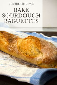 These sourdough baguettes have just a hint of tanginess. They a golden brown crispy crust that envelopes an open crumb with a rich taste. Sourdough Bread, Golden Brown, Olives, Baguette, Envelopes, Bread Recipes, Tasty, Baking, Food