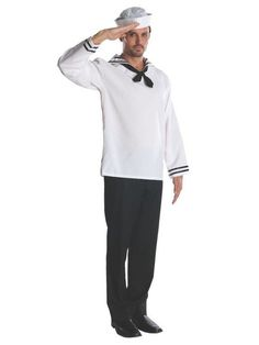 Halloween Men's Sailor Halloween Costume One Size, Men's, MultiColored Sailor Halloween Costumes, Unicorn Halloween Costume, Halloween Men, Adult Costumes, Sailor Shirt, White Costumes, Fun Wedding Invitations, Blue And White, The Incredibles