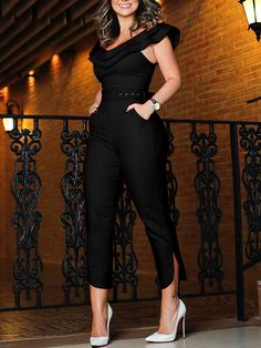 Shop Layered Ruffle Split Leg Slinky Jumpsuit – Discover sexy women fashion at IVRose Jumpsuit Lang, Black Jumpsuit, Jumpsuit Outfit, Elegant Jumpsuit, Bodycon Jumpsuit, Strapless Jumpsuit, Denim Jumpsuit, Striped Jumpsuit, Fashion Clothes