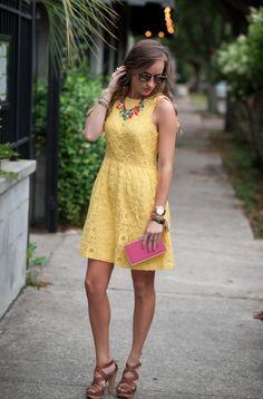 #kensie Clothing yellow lace sundress on #Morrellsarmoire Fashion Blog. J.crew color mix statement necklace. #MauiJim Kholohe sunglasses. #bellamihair