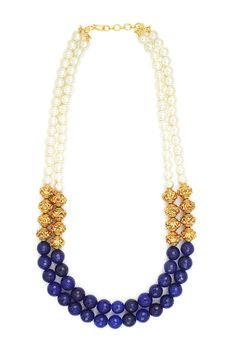 Two line necklace with green blue maroon and by UtsavHandicrafts