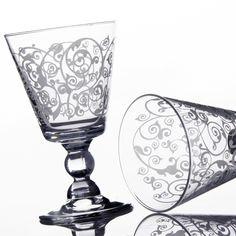 Copas de cristal decorado. unimasa.es