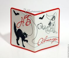 """Купить Обложка для автодокументов вышитая """"Ведьмочка с черным котом"""" - обложка, обложка на документы, оригинальная обложка"""