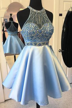 Prettiest Blue Prom Dresses,A-line Scoop Neck Homecoming Dresses, Satin Tulle Short/Mini Formal Party Gowns,Beading Cocktail Dress