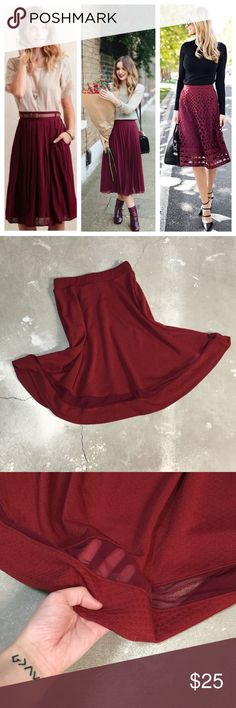 💚$12💚Red skirt Red skirt with mesh at the bottom. The first picture shows how you can style it. The pictures of the actual skirt show a more true color. The first picture is burgundy and the skirt is more of a reddish burgundy. 💜 Faith and Joy Skirts Midi