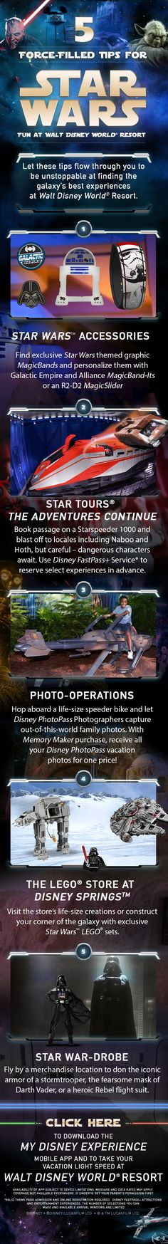 Check out these 5 Force-filled tips for having the ultimate Star Wars experience on your Walt Disney World vacation. From riding Star Tours to showing love for the galaxy with MagicBands, there's something for every Star Wars fan in your family!