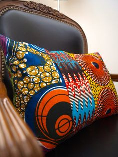 African wax print Pillow by OSxN African Interior, African Home Decor, African Crafts, African Textiles, African Fabric, Ankara Fabric, African Accessories, African Fashion Designers, Patchwork Pillow