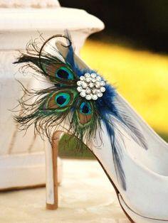 shoe clips by sofisticata---- amazing BLUE peacock shoe clips http://sofisticata.etsy.com
