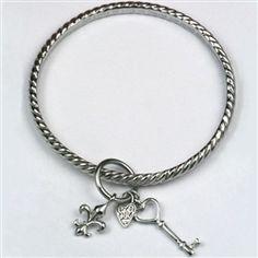 Carved Creations-Basia's Lock and Key Bangle Bracelet
