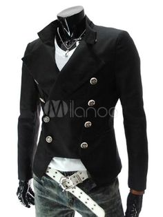 Military inspired men's suit jacket. Black, red, and white