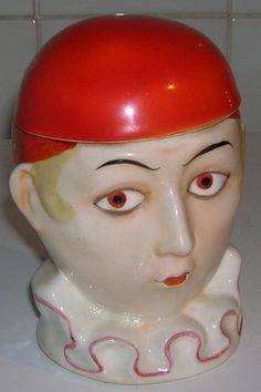 Vintage Art Deco Porcelain Pierrot Design Tobacco Jar.