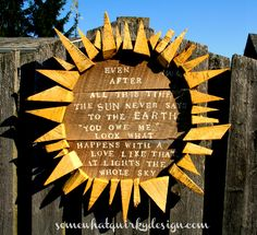 My Favorite Garden Art. - I made this sun about 3 years ago and never realized I hadn't posted it here. It was made with a board from a trashed fence pane diy garden art Wood Sun Garden Art Unique Garden, Painting Shutters, Hydrangea Bush, Hydrangea Garden, Garden Plaques, Garden Signs, Patio Signs, Diy Vintage, Vintage Farmhouse