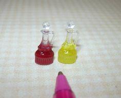 Miniature Oil and Red Wine Vinegar Cruets:  DOLLHOUSE Miniatures 1/12 Scale