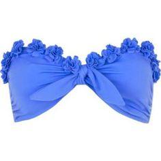 blue flower bandeau bikini top  -