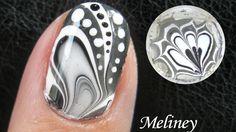 WATER MARBLE Nail Art Tutorial -  Black & White Design How to Basics Tec...