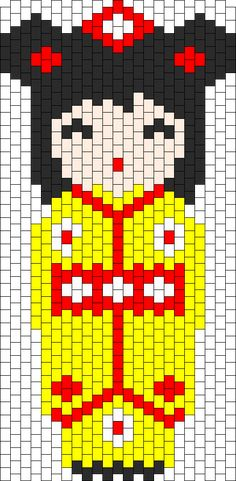 Kokeshi Yellow bead pattern