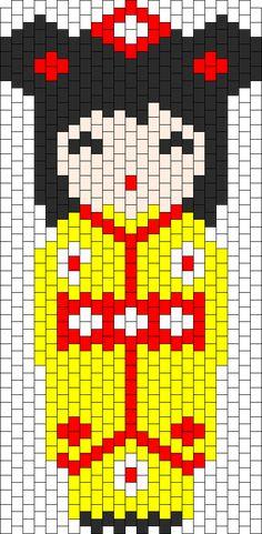 Kokeshi Yellow bead pattern