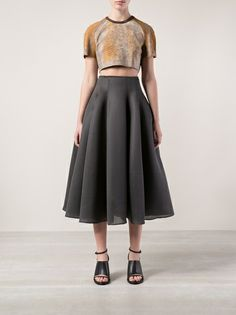 Farfetch.com -Grey neoprene mesh ball skirt from Dominic Louis featuring an invisible back zip fastening, pleated details and a long length Odd Boutique in Manhattan