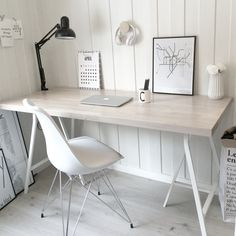 Home Office nordic style Home Desk, Home Office Space, Home Office Design, Home Office Decor, Office Style, Tiny Office, Front Office, Office Designs, Home Office Inspiration