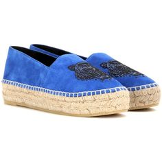 Kenzo Suede Espadrilles (4,800 MXN) ❤ liked on Polyvore featuring shoes, sandals, blue, espadrille sandals, blue sandals, kenzo shoes, suede shoes and suede leather shoes