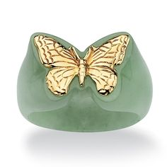 Genuine Green Jade 14k Yellow Gold Butterfly Ring