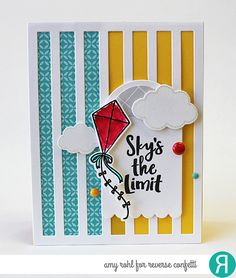 Card by Amy Rohl. Reverse Confetti stamp set: Take Flight. Confetti cuts: Take Flight, Vertical Stripes Cover Panel and Round Top Tag. RC 6x6 paper pad: Pattern Play. Graduation card. Congratulations card. Birthday card.
