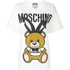 Moschino Bear T-Shirt Oversize (£165) ❤ liked on Polyvore featuring tops, t-shirts, white, bear t shirt, moschino t shirt, white tee, print tees and white crew t shirt