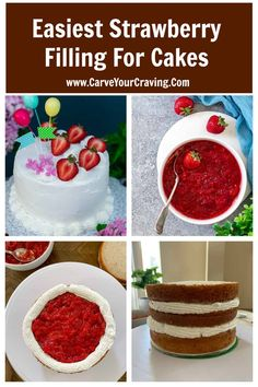This is the best strawberry filling for cake & cupcakes. It is thick and won't bleed out of the cake. Use it in tarts or dessert recipes. Can be frozen too. #filling #strawberry #cake #tart Strawberry Cake Recipes, Chocolate Cake With Strawberry Filling Recipe, Strawberry Filled Cupcakes, Strawberry Birthday Cake, Strawberry Topping, Just Desserts, Dessert Recipes, Health Desserts, Vegan Desserts